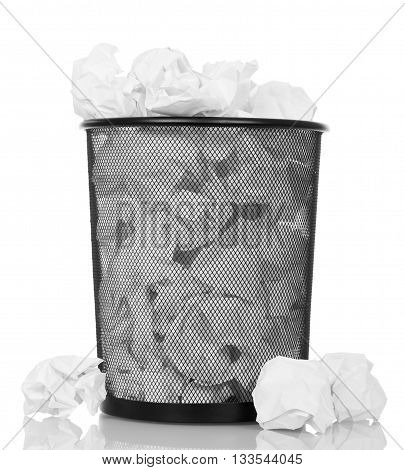 Full trash can isolated on white background.
