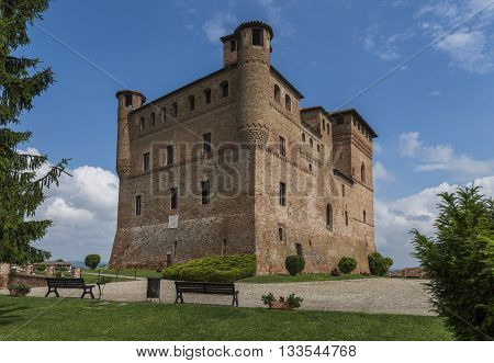 Grinzane Cavour Italy - May 30 2016: Wine Castle Grinzane Cavour in Piedmont in Barolo district in Italy.