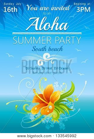 Day beach poster for hawaiian party with hibiscus flower