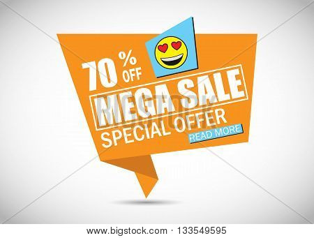 Mega Sale Banner with Smile. Sale background. Mega Sale. Super sale. Sale poster. Sale vector. Special offer sale. Geometric design. Vector illustration.