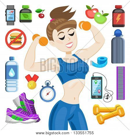 Sporty young woman in sportswear. Fit girl with dumbbells. Smiling cartoon girl with fitness kit elements. Sport concept vector illustration