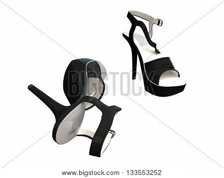 3D rendering of women's shoes isolated on white background