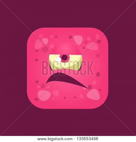 Grumpy Pink Monster Emoji Icon. Creative Vector Emoticon Alien Monster Face. Cartoon Monster Character Square Button Drawing.