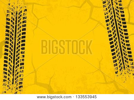 Tire tracks background with cracked and grunge effect. Black marks on yellow background. Vector illustration