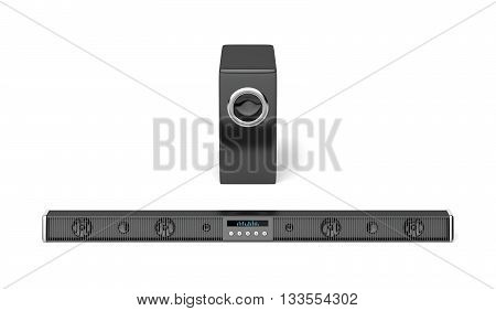 Front view of soundbar and subwoofer on white background, 3D illustration