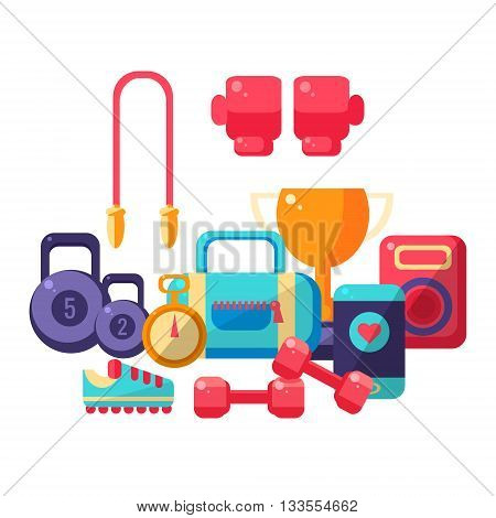 Gym Inventory Items Collection. Flat Colorful Vector Illustration With Fitness Inventory. Training Equipment Vector Illustration.