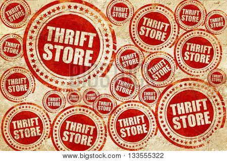thrift store, red stamp on a grunge paper texture