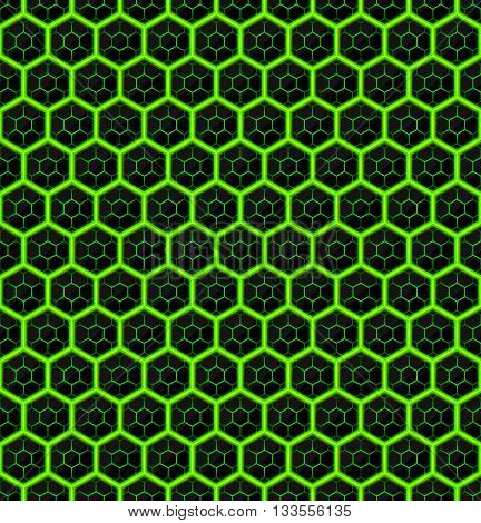 Hexagons of black stone with green streaks of energy. Seamless vector texture. Technology seamless pattern. Vector geometric dark background.