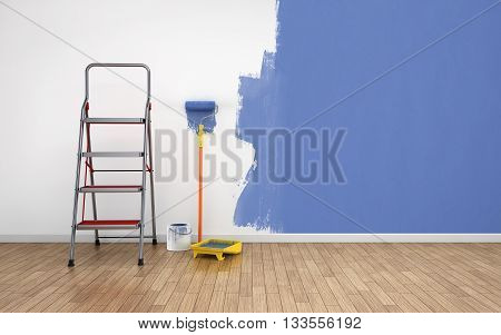 Painting of an empty room. Renovation house, 3d rendering