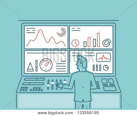 Linear vector illustration of web analytics information and development website statistic - vector illustration