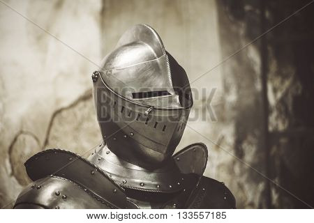 Knight in shining armor. Detail metal helmets. Medieval warrior