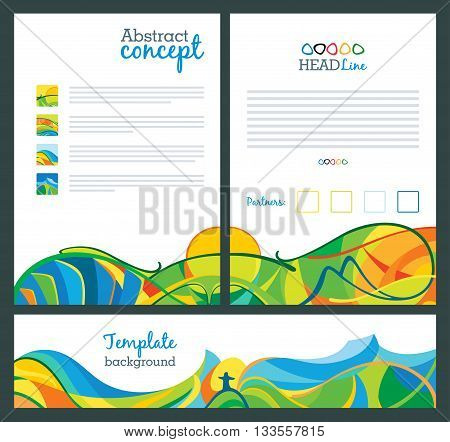 Abstract vector template design brochure websites page leaflet with colored lines and waves A4 size. Travel concept banners.