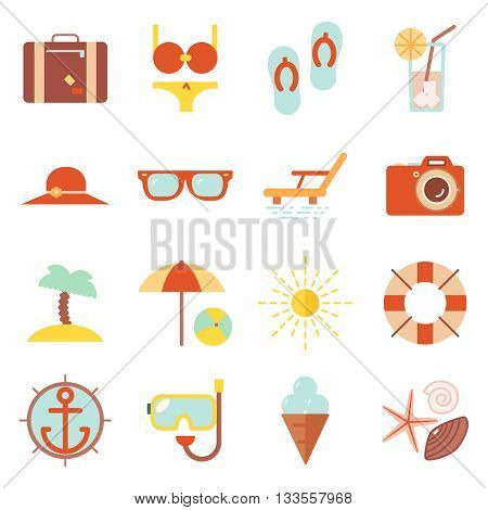 Summer vacation beach resort accessorize vector symbols icon flat design template illustration