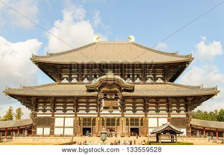 Todaiji Temple front view in Nara Park Japan