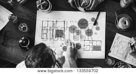Design Team Brainstorming Interior Design Planning Work Concept