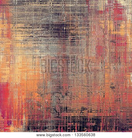 Colorful vintage background, grunge texture with scratches, stains and different color patterns: yellow (beige); brown; red (orange); purple (violet); black; pink
