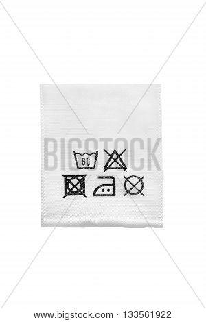 Washing instructions label isolated over white background