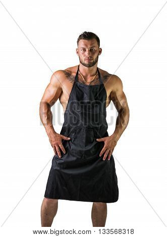 Male Bodybuilder Waiter Wearing Apron on Naked Muscular Body, While Looking at the Camera. Isolated on White Background.