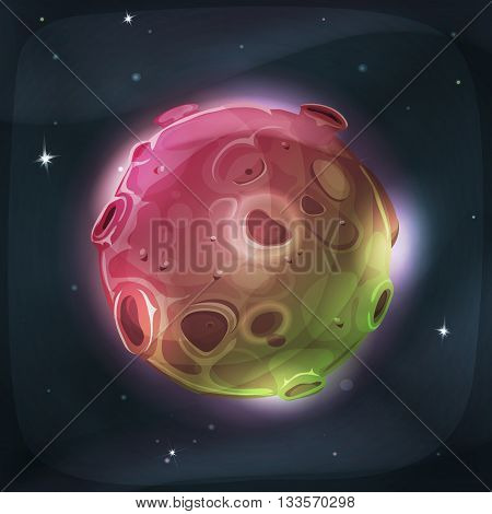 Illustration of a cartoon funny and fairy alien moon or planet globe with craters holes volcano areas and light halo for space and sci-fi game ui