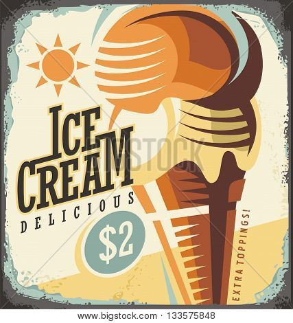 Ice cream retro poster design concept. Vintage tin sign with delicious ice cream in a cone. Vector summer illustration.