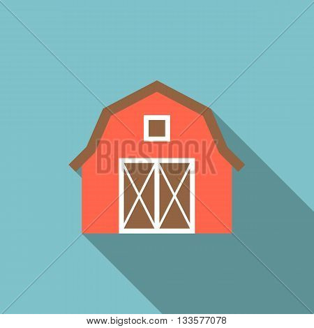 barn illustration, red barn icon with long shadow, simple farm icon flat design
