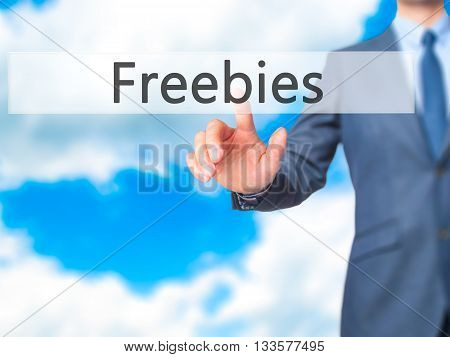 Freebies - Businessman Hand Pressing Button On Touch Screen Interface.