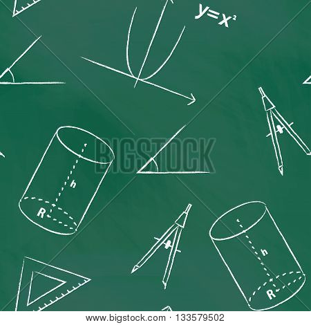 Seamless pattern back to school. Vector green blackboard written with white chalk schedule, formula, line, triangle, cylinder, compass and angle. Mathematical background for design tutorials