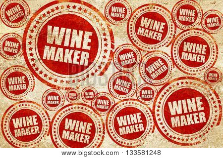 wine maker, red stamp on a grunge paper texture