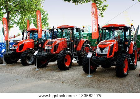 Novi Sad Serbia: May 11 2016 - Zetor tractors on Agricultural Fair in Novi Sad