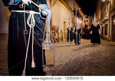 Baeza Andalusia Spain - March 21 2008: olemn Easter Week (Semana Santa) procession death and resurrection of Christ