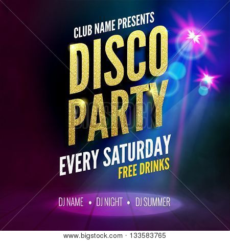 Disco Party Poster Template. Night Dance Party flyer.  Disco party golden design template on dark colorful background. Disco dance golden party background
