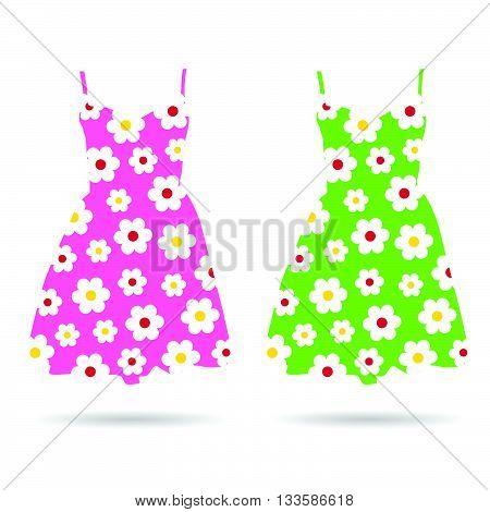 dresses with flower in color set illustration