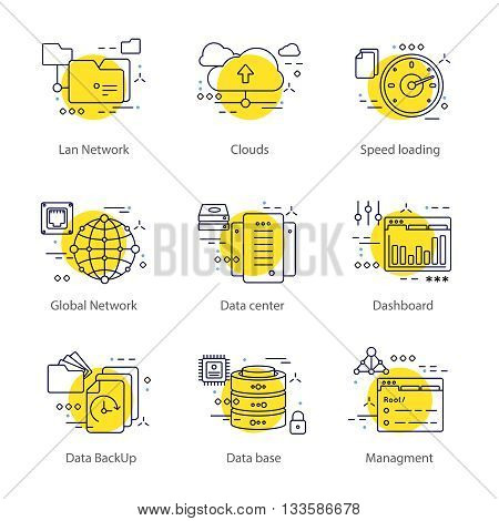 Data center line concept with a list of different topics lan network clouds speed loading dashboard for example vector illustration