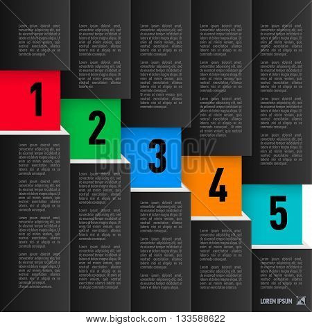 Infographics in black paper style descending with colored numbered items from one to five