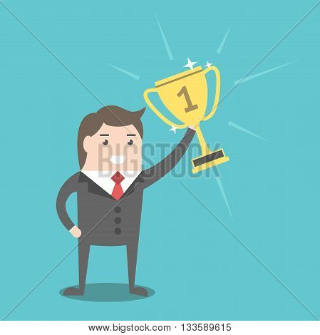 Young successful businessman holding golden winner cup. Business success victory reward and triumph concept. EPS 8 vector illustration no transparency