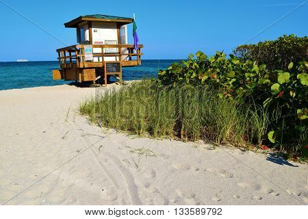 Sandy beach with a lifeguard station and lush green plants taken at Sunny Isles Beach in Miami-Dade County, FL