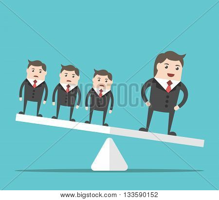 Happy successful businessman outweighing group of people on scales. Business success uniqueness competition and performance concept. EPS 8 vector illustration no transparency