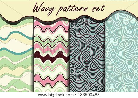 Colorful cartoon waves seamless pattern set. Vector illustration for abstract aqua design. Endless texture can be used for fills, web page background, surface. Collection of wallpaper with waves.