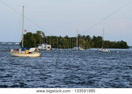 May 15, 2016 in Cocoanut Grove, FL:  Sail Boats and yachts docked at the Cocoanut Grove Harbor with a small Island known as a key where mariners can explore taken in Cocoanut Grove, FL