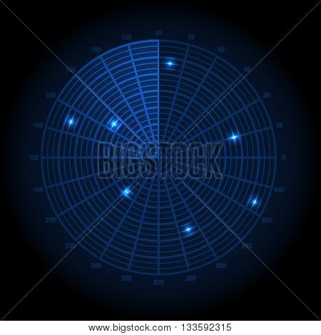 Vector illustration of technology Blue radar screen.
