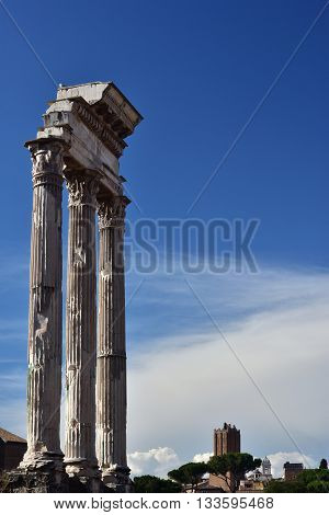 Ruins of the ancient Temple of Castor and Pollux in the center of Roman Forum, just before sunset