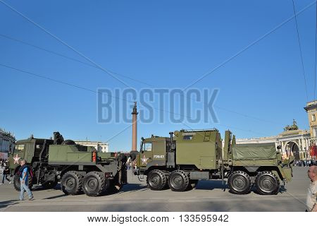 Repair And Recovery Vehicle Rem-kl And A Military Tow Truck On T