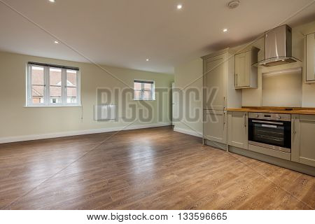 Open plan apartment reception room with Kitchen area including built in appliances