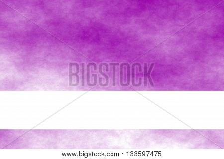 Purple and white smoky background with white banner