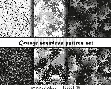 Grunge textures set. Background Collection. Vector illustration. Grunge seamless pattern set. EPS 10