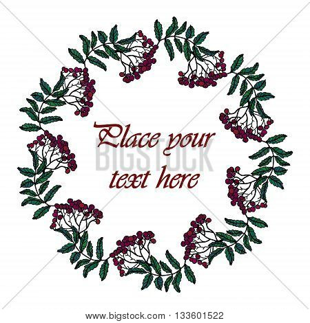 Frame - wreath. Rowan berries and leaves. Vector isolated object on white background. Round frame of red fall park berries - rowan.