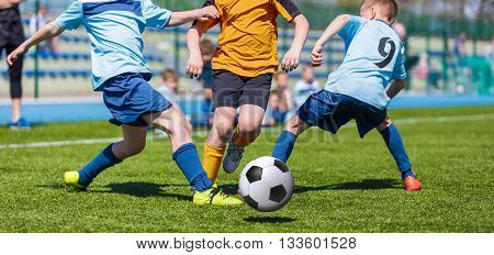 Football match for children. Training and football soccer tournament.