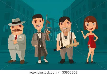 Vector flat illustration on background of city streets