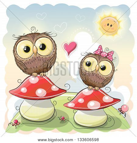Two Cute Cartoon Owls are sitting on mushrooms