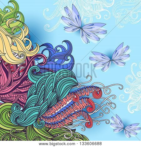 Hand drawn vector card with doodle elements and butterflies. Abstract spring background.
